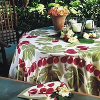 Couleur Nature Round Red/Green Fig Tablecloth