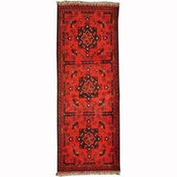 Herat Oriental Afghan Hand-knotted Tribal Khal Mohammadi Red/ Navy Wool Rug - 1'10 x 4'10