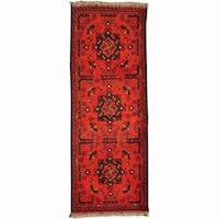 Handmade Herat Oriental Afghan Tribal Khal Mohammadi Red/ Navy Wool Rug (Afghanistan) - 1'10 x 4'10