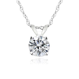 14k White Gold 1/3ct TDW Diamond Solitaire Necklace