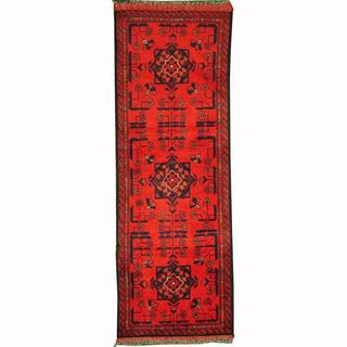 Herat Oriental Afghan Hand-knotted Tribal Khal Mohammadi Red/ Navy Wool Rug (1'10 x 4'10)