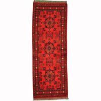 Handmade Herat Oriental Afghan Tribal Khal Mohammadi Red/ Navy Wool Rug (Afghanistan)