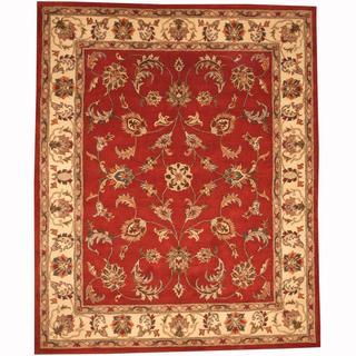 Herat Oriental Persian Indo Hand-tufted Tabriz Rust/ Beige Wool Rug (8' x 10')