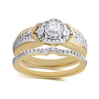 Bridal Symphony 10k Gold Sterling Silver 5/8ct TDW Bridal Ring Set (I-J, I2-I3)