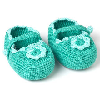 Handmade Crochet Baby Mary Jane Booties (Guatemala)