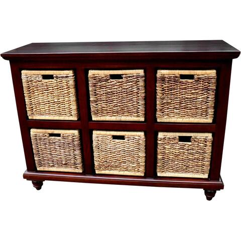 Handmade D-Art Mahogany 6 Banana Leaf Basket Chest (Indonesia)