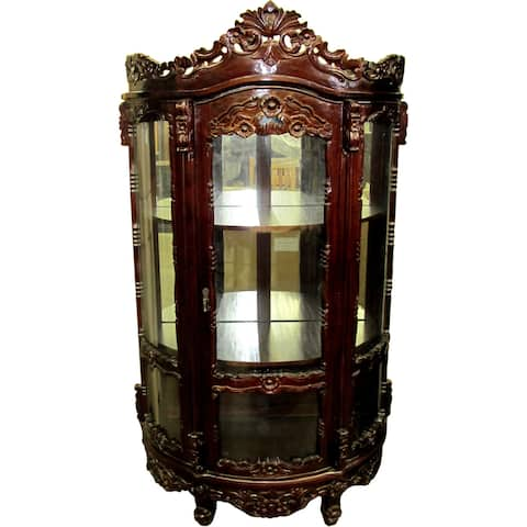 D-Art Collection Mahogany Rococo Carved China Glass Cabinet - N/A