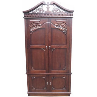 Handmade D-Art Mahogany Wood Carved Top Armoire (Indonesia)