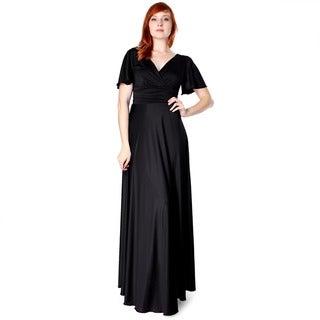 Evanese Women's Shiny Venezian Long Evening Dress