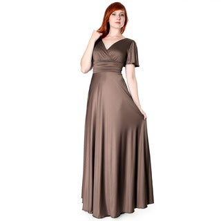 Evanese Women's Shiny Venezian Long Evening Dress