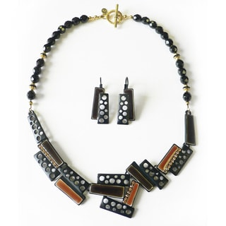 Palmtree Gems Modern Art Trapezoid Necklace and Earring Set