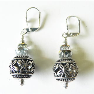Palmtree Gems 'Grace' Metal and Crystal Glass Dangle Earrings