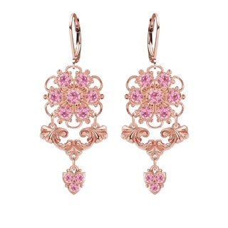 Lucia Costin Rose Gold Over Silver Light Pink Crystal Charm Earrings
