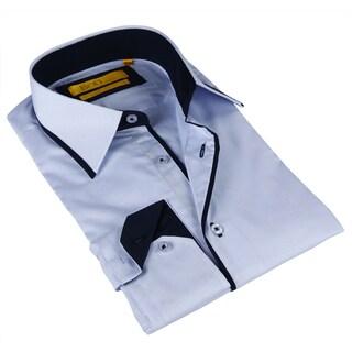 BriO Milano Men's Navy and Blue Button-down Dress Shirt