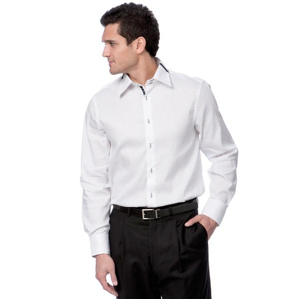 6efdb827632c Shop BriO Milano Men's White and Navy Button-down Dress Shirt - Free ...