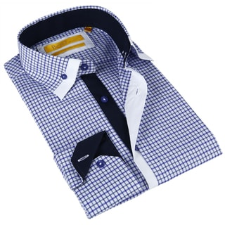 BriO Milano Men's White and Blue Button-down Dress Shirt