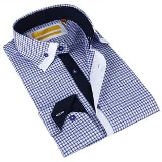 BriO Milano Men's White and Blue Button-down Dress Shirt https://ak1.ostkcdn.com/images/products/9547338/P16728180.jpg?impolicy=medium