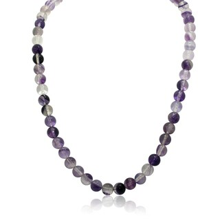 Gioelli Sterling Silver Florite Bead Chain Necklace