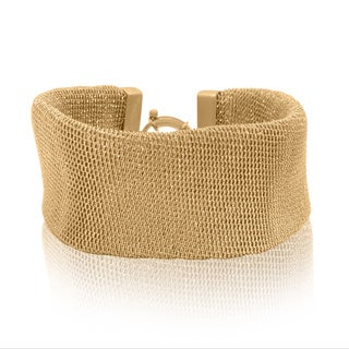 Gioelli Sterling Silver Yellow Goldplated Designer Mesh Bracelet