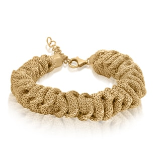 Gioelli Sterling Silver Yellow Goldplated Twisted Mesh Bracelet