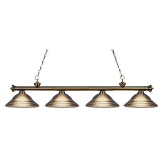 Z-Lite Riviera Antique 4-light Brass Billiard Fixture