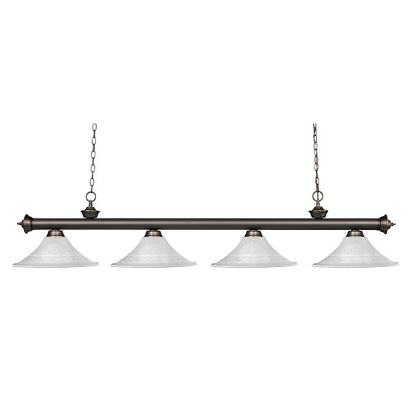 Avery Home Lighting Riviera Olde Bronze Fluted White Mottle Billiard Fixture