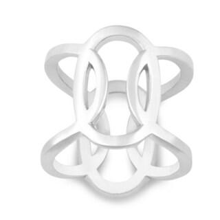 La Preciosa Sterling Silver Interlocking Oval Designed Ring