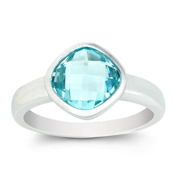 La Preciosa Sterling Silver Faceted Blue Topaz Square Gemstone Ring