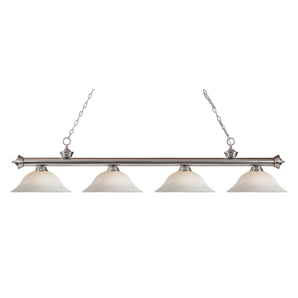 Z-Lite Riviera Brushed Nickel White Mottle 4-light Billiard Fixture