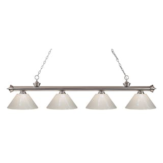 Z-Lite Riviera Brushed Nickel White 4-light Billiard Fixture