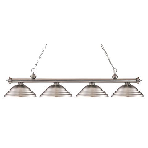 Avery Home Lighting Riviera Brushed Nickel 4-light Billiard Fixture - Silver