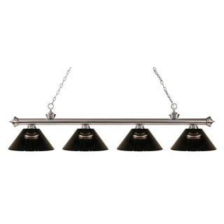 Z-lite Riviera Brushed Nickel Smoke 4-light Billiard Fixture - Brushed nickel