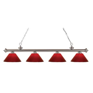 Z-lite 4-light  Riviera Brushed Nickel Red Billiard Fixture