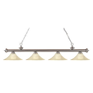 Z-Lite Riviera Brushed Nickel Fluted Golden Mottle 4-light Billiard Fixture