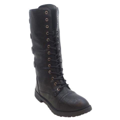 Blue Women's 'Lydi' Black Combat Boots