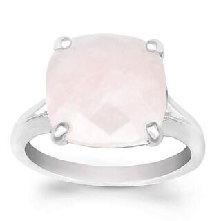 La Preciosa Sterling Silver Rose Quartz Cushion-cut Gemstone Ring