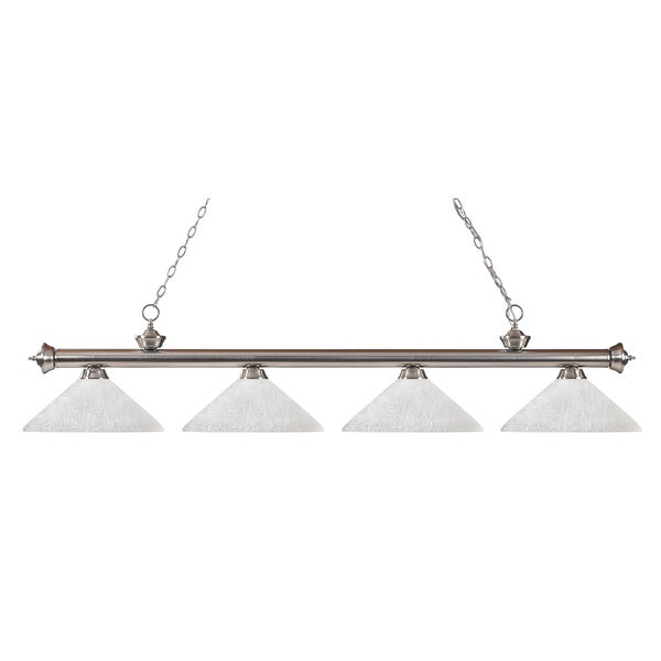 Z-Lite Riviera Brushed Nickel White Linen 4-light Billiard Fixture