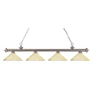 Z-Lite Riviera Brushed Nickel Angle Golden Mottle 4-light Billiard Fixture