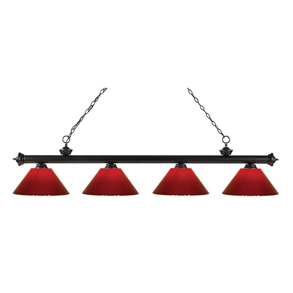 Avery Home Lighting Riviera Bronze Red 4-light Billiard Fixture