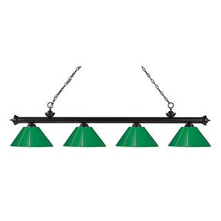 Z-Lite 4-light Riviera Bronze Green Billiard Fixture