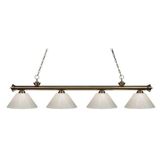 Z-Lite 4-light Riviera Antique Brass White Billiard Fixture