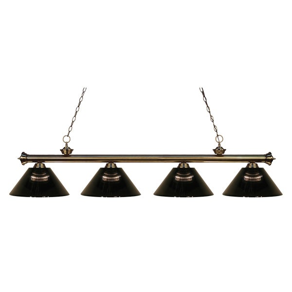 Z-Lite 4-light Riviera Antique Brass Smoke Billiard Fixture