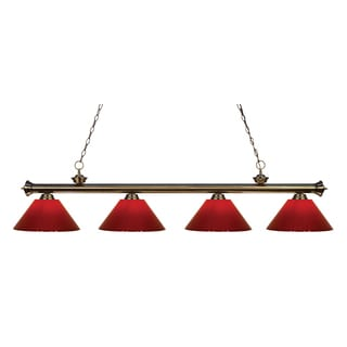 Z-Lite 4-light Riviera Antique Brass Red Billiard Fixture