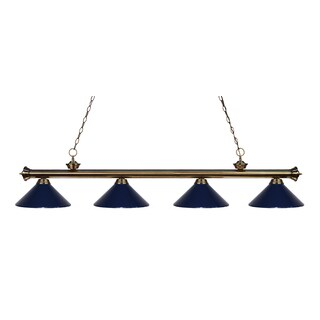 Z-Lite 4-light Riviera Antique Brass Navy Blue Billiard Fixture