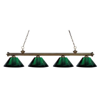 Z-Lite 4-light Riviera Antique Brass Green Billiard Fixture