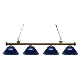 Z-lite 4-light Riviera Antique Brass Dark Blue Billiard Fixture