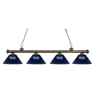 Avery Home Lighting 4-light Riviera Antique Brass Dark Blue Billiard Fixture