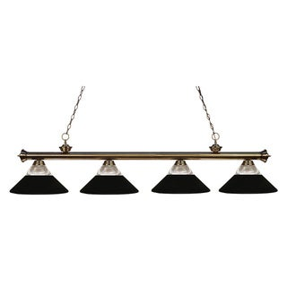 Z-lite 4-light Riviera Antique Brass Clear Ribbed Glass and Metal Matte Black Billiard Fixture