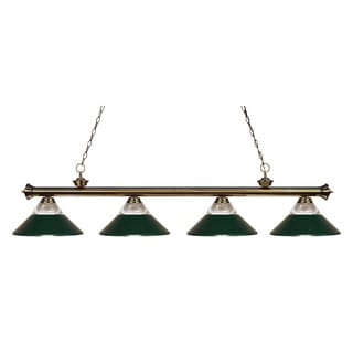 Z-lite 4-light Riviera Antique Brass Clear Ribbed Glass and Metal Dark Green Billiard Fixture