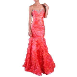 DFI Women's Mermaid Shirred Evening Gown